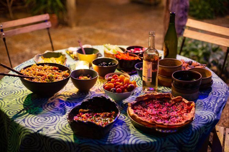 Autour du patio - Repas nocturne